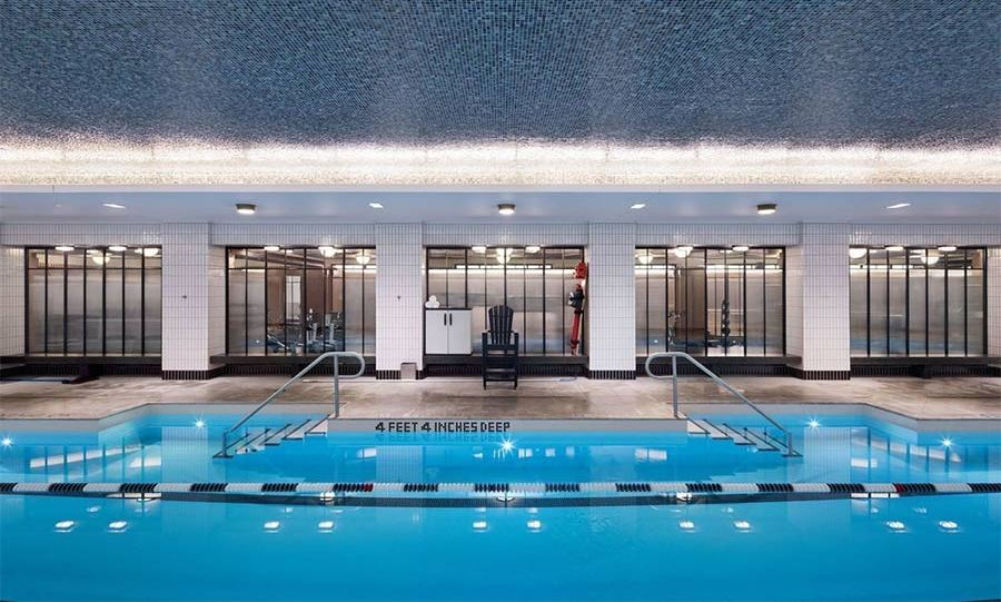 <p>Jon Bon Jovi's new home is in an impressive building in Greenwich Village, with access to facilities including this 25-metre swimming pool, a fitness centre, steam rooms and a golf simulator. There is even a 21-seat cinema-style screening room and a central communal garden.</p>