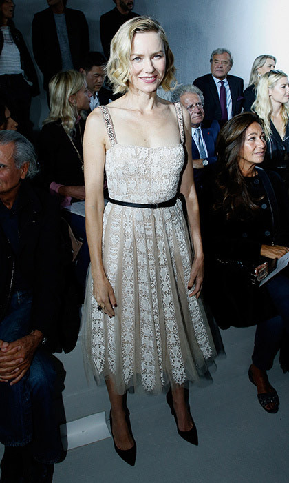 <p>Naomi Watts opted for ladylike lace in the FROW at Dior. <br /><br />Photo: &copy; Pascal Le Segretain/Getty Images for Dior</p>