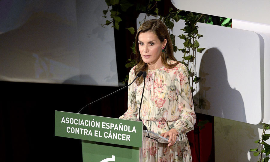 <p>Queen Letizia was floral perfection as she delivered a speech during Cancer Research World Day in Madrid on September 22.<br /><br />Photo: WireImage</p>