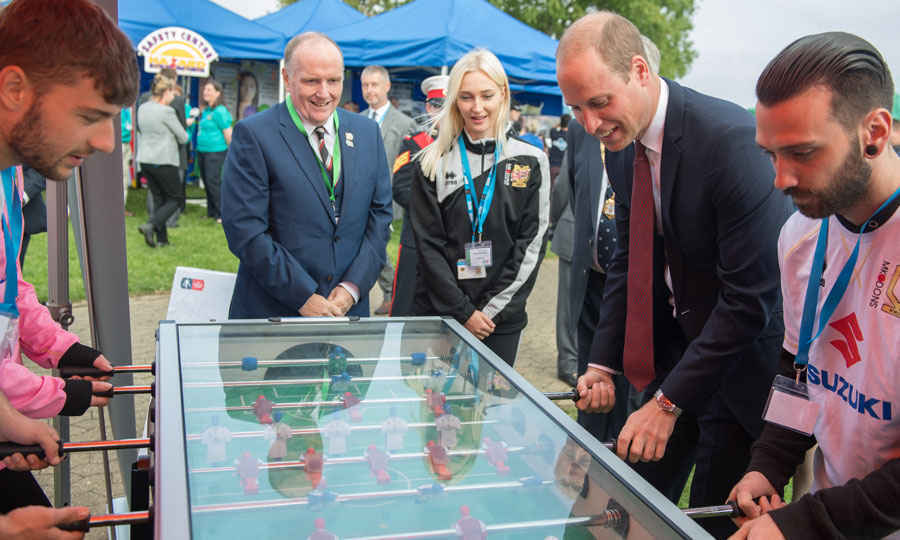 "<p>Prince Harry isn't the only one getting in on the sports action. Prince William played a round of table soccer with young people involved in the MK Dons soccer team's program ""Set"" during a visit to Milton Keynes on September 26.<br /><br />Photo: Chris J. Ratcliffe/Getty Images</p>"