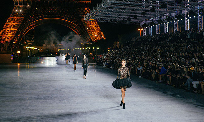 The stunning fashion show took place beneath the Eifell Tower.