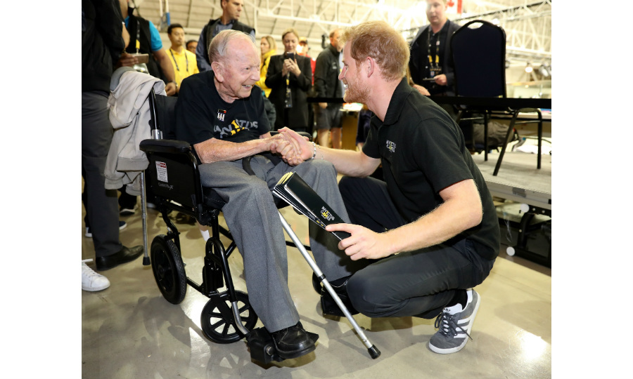 Following an inspirational speech by 101-year-old WW2 vet Norm Baker, Prince Harry raced up to shake his hand. Norm applauded the athletes for their incredible performance at the games.  