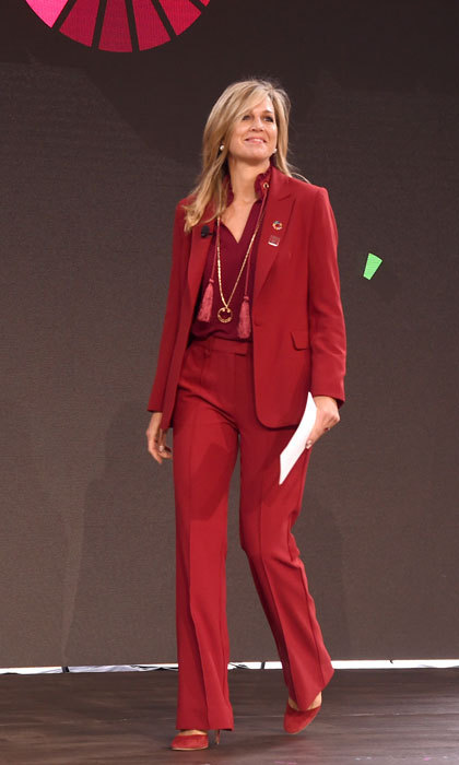 <p>Queen Maxima of the Netherlands was a stand out in a red pantsuit during the Goalkeepers 2017 conference at the UN in NYC.</p>