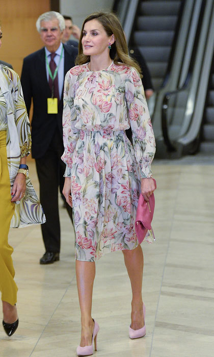 <p>Queen Letizia made a floral statement as she stepped out for the 'Cancer Research World Day' event at El Prado Museum.</p>