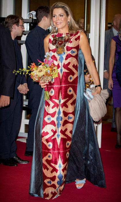 <p>Queen Maxima's wore a patterned Afroditi Hera gown for her night at the National Opera & Ballet to watch Ode to the Master in Amsterdam on September 15. </p>