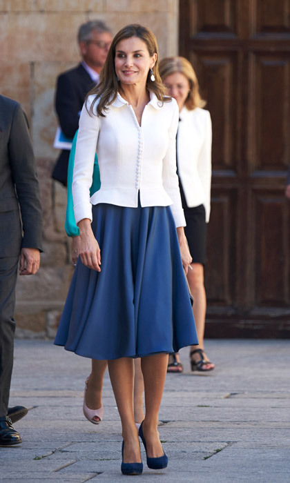 <p>Queen Letizia looked very academic at the opening of the Scholar University school year at the Salamanca University one day ahead of her 45th birthday on September 14.</p>