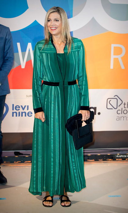 <p>Queen Maxima went with a more comfortable pair of flat sandals to wear with her green dress to the LOEY Awards, which honors the best online entrepreneurs in Amsterdam on September 11.</p>