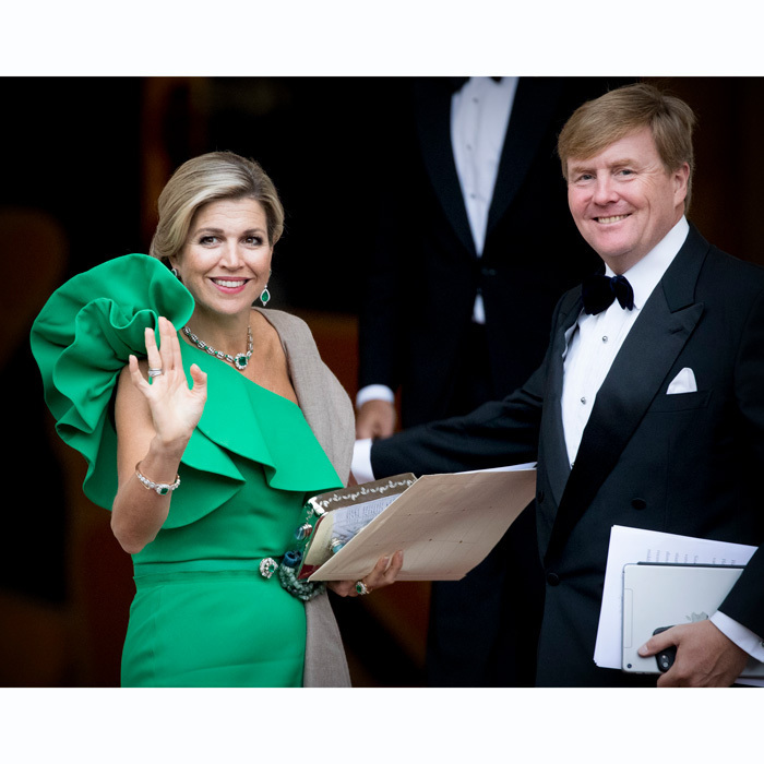 <p>The Dutch Queen certainly brought the wow factor in her one-shouldered Lanvin dress to the gala dinner held for the Council of State at Noordeinde Palace in The Hague on September 13. </p>
