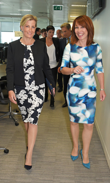 <p>Countess Sophie of Wessex wore a black and white floral dress with a black blazer to the BGC Charity Day on September 11, 2017.</p>