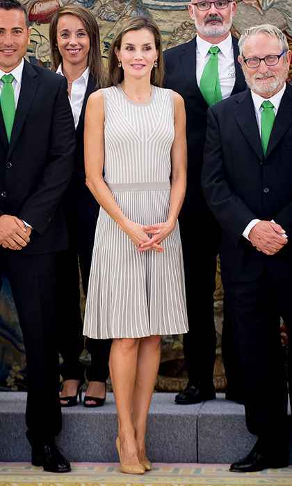 <p>At a September 5 meeting at Zarzuela Palace in Madrid, Queen Letizia of Spain looked ready to transition to fall in this cute knit dress. </p>