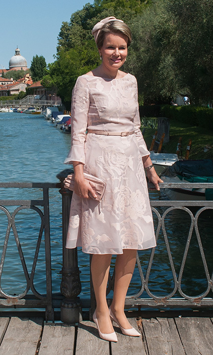 <p>Queen Mathilde of Belgium looked sweet in head-to-toe powder pink during a visit to Venice on September 8.</p>