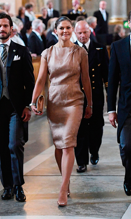 <p>Crown Princess Victoria of Sweden donned a simple silk dress for baby nephew Prince Gabriel's Te Deum ceremony at the Royal Chapel in Stockholm on September 4. </p>