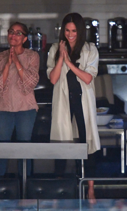 Unlike the opening ceremonies, where she sat in the section over from Prince Harry, Meghan had a prime seat in a private box for the closing festivities. The actress watched the ceremony with her mom Doria and close friends Jessica Mulroney and Markus Anderson. 