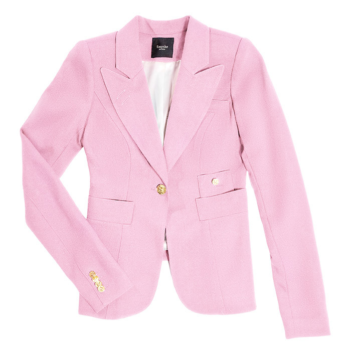 <p><strong>Duchess Blazer Rethink Pink</strong>, $595, <em>shopsmythe.ca</em></p><hr><br><p><em>A go-to style for the Duchess of Cambridge</em>, $50 of every sale of this limited-edition Smythe blazer will goes to benefit Rethink Breast Cancer.</em> </p>