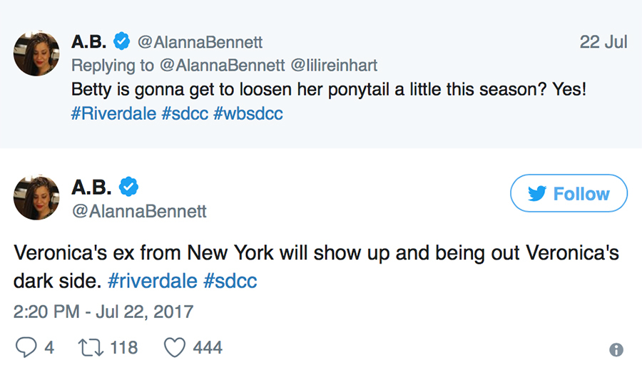 A <i>Buzzfeed</i> film & TV writer took to Twitter to give fans some sneaky scoop as to what's going on in season two. According to Alanna Bennett, Veronica (played by Camila Mendes) will have a dark encounter with an ex from New York City!