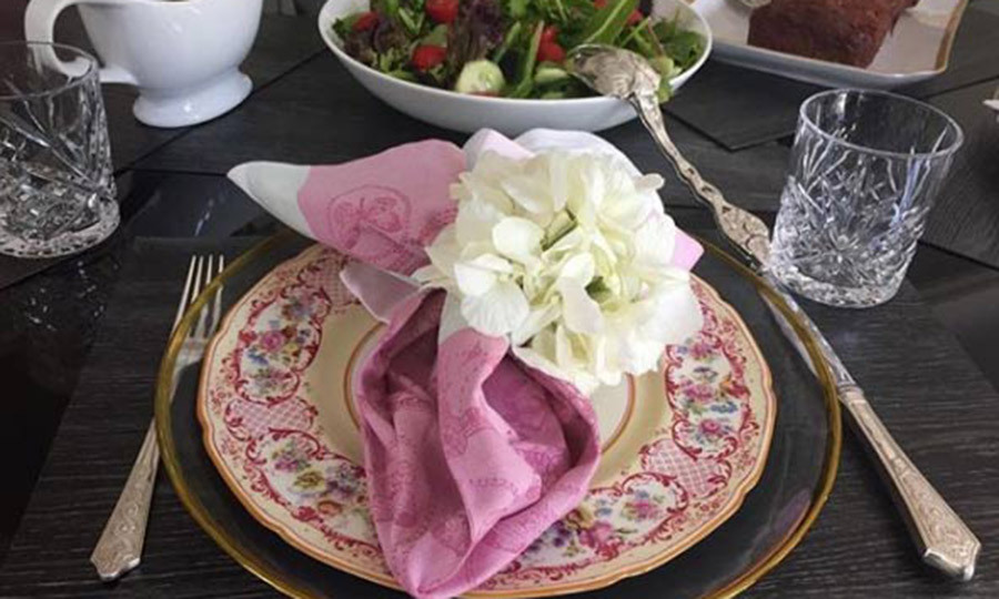 "<p>The actress ensures her entire home is picture-perfect right down to the details, using vintage plates and floral place settings for a family meal. ""Meatloaf and salad on a vintage plate = comfort. #StyleByZeta,"" she captioned this post, much to the approval of her followers. ""My mother always said that presentation makes a good meal great,"" one commented.</p>