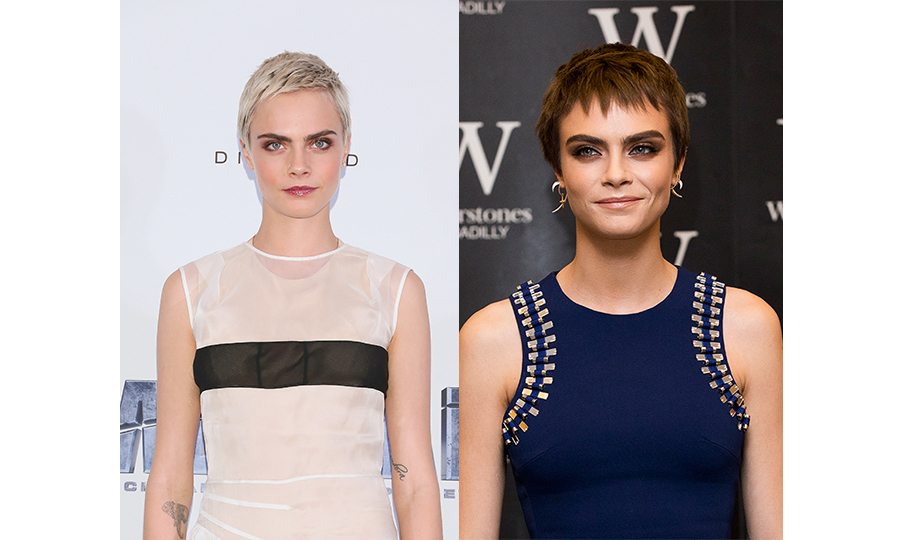 All eyes were on Cara Delevingne's freshly-dyed hair when she stepped out in London. The model-turned-actress has transformed her pixie cut hair from platinum blonde to a warm chocolate brown hue– and she looks fantastic! 