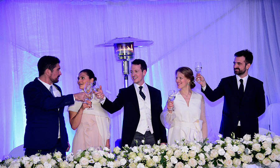<p>Prince Aleksandar Karadjordjevic, Princess Victoria of Sweden, Prince Philip of Serbia, Danica Marinkovic and Prince Petar Karadjordjevic were seated at the head table.</p>
