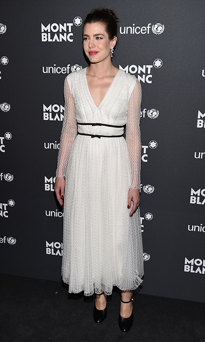 The Monaco royal truly loves a little white dress! Here she is in Giambattista Valli for the Montblanc & UNICEF Gala Dinner in New York City in April 2017. 