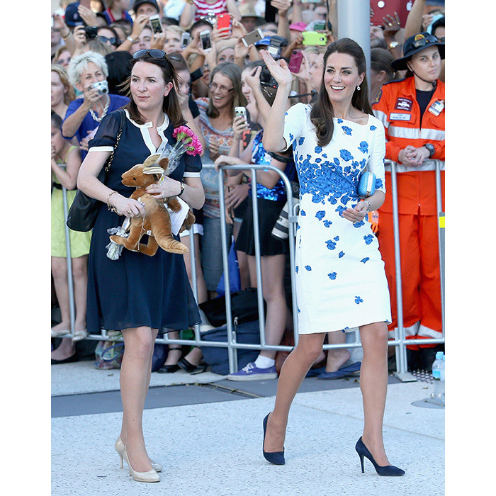 <p>Rebecca Deacon pictured with the Duchess of Cambridge on the royal tour of Australia and New Zealand.</p>
