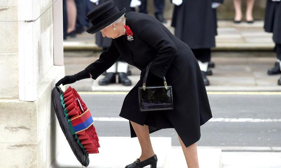 <p>The Queen lays a wreath at the Cenotaph on Remembrance Sunday in 2016.</p>