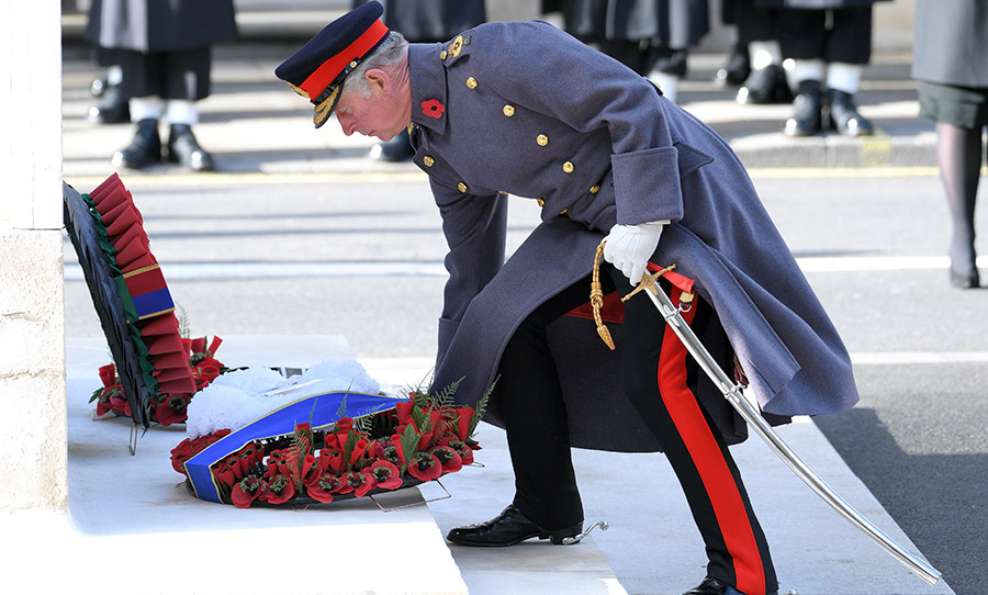 <p>Prince Charles lays a wreath at the Cenotaph on Remembrance Sunday in 2016.</p>