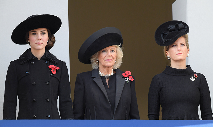 <p>Catherine, Duchess of Cambridge, Camilla, Duchess of Cornwall and Sophie, Countess of Wessex attend the annual Remembrance Sunday Service at the Cenotaph on Whitehall in November 2016.</p>