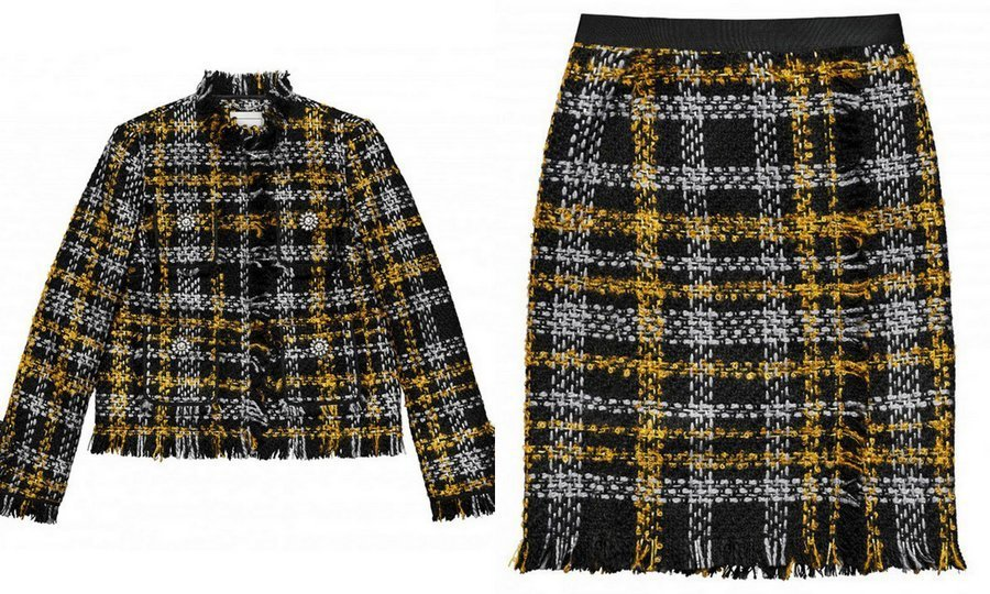 <p>Duchess Kate wore Erdem tweed to a chilly royal engagement in Manchester, England in 2016. Here's a matching skirt suit set (which just happened to be one of the top looks on the season's runways) in tweed from the Erdem x H&M collection.<br /><br />Jacket, $199; Skirt, $99<br /><br />Photos: Erdem x H&M</p>