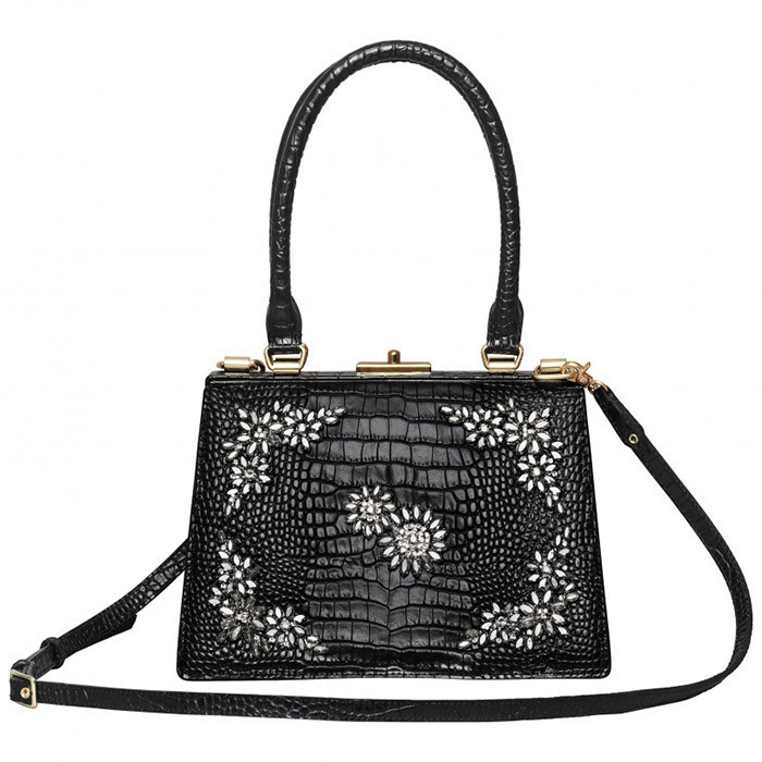 <p>Kate prefers clutches, of course, but we could also see her carrying this chic structured embellished handbag fit for a queen.<br/><br/>Bag, $299<br/><br/>Photo: Erdem x H&M</p>