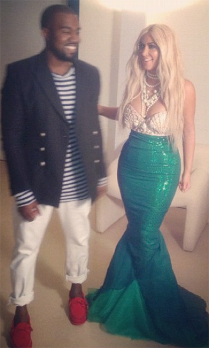 What a catch! Kim Kardashian made one glamorous mermaid in 2012, with her husband Kanye playing the role of a dapper ship captain. 