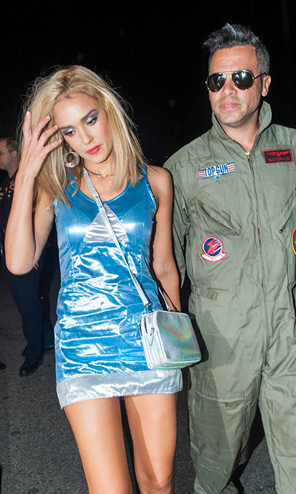 The '90s were alive in 2015 thanks to Jessica Alba and husband Cash Warren's on-point ensembles. The Honest Beauty founder was a dead ringer for Romy from <i>Romy and Michele's High School Reunion</i> while her beau channeled Tom Cruise in <em>Top Gun</em>. 