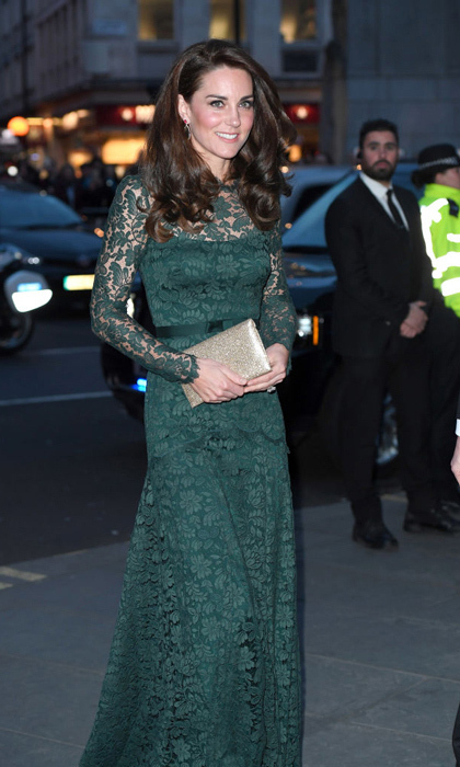 <p>The Duchess of Cambridge adores lace – and she looks amazing in it, as demonstrated at her evening at the National Portrait Gallery gala in March 2017. The Duchess of Cambridge wore a hunter green Temperley London gown for the occasion.<br /><br />Photo: Ricky Vigil M/GC Images</p>