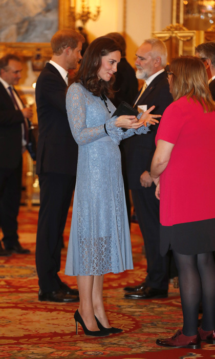 "<p>On October 10, 2017, after remaining out of the public eye for more than a month due to severe morning sickness, a pregnant Duchess of Cambridge reappeared looking ladylike and chic in a creation by Temperley London at a charity reception for the Heads Together mental health campaign at Buckingham Palace. <br /><br />Described as ""a modern take on the lace dress underpinned by the season's Elizabethan influence"", the iris-hued 'Eclipse Lace Collar Dress' features scalloped edges, frilled sleeves and neckline and a contrast velvet neck tie. The midi, which also comes in white and black and in jumpsuit and minidress versions, retails for $1,095.<br /><br />Photo: Getty Images</p>"