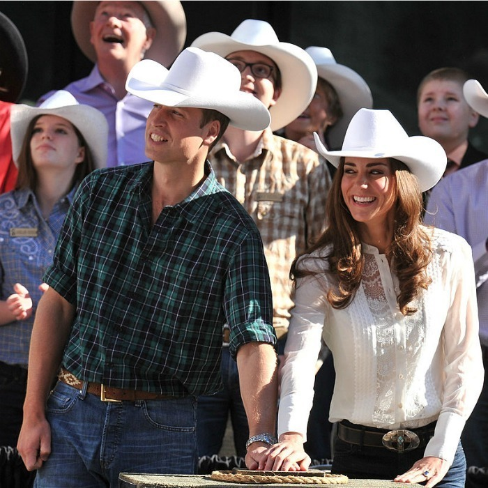 <p>The Duchess of Cambridge attended the Calgary Stampede Parade donning a white lace blouse by Temperley during her and Prince William's 2011 tour of North America.<br /><br /><br />Photo: George Pimentel/WireImage</p>