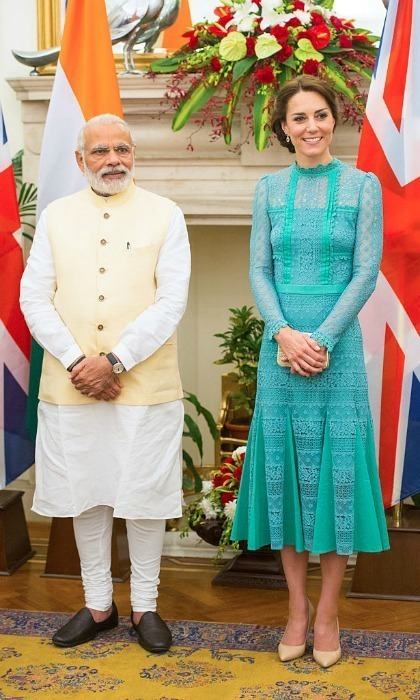 <p>The Duchess elected for a teal lace dress by Temperley to meet the Prime Minister of India, Narendra Modi Samir, in 2016.<br /><br />Photo: Hussein/Pool/WireImage</p>