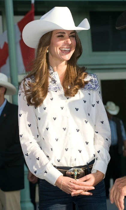 <p>Kate was rodeo-ready wearing a Temperley blouse that featured embroidery and bib detailing for the Calgary Stampede, during her tour of Canada in 2011.<br /><br />Photo: Samir Hussein/WireImage</p>
