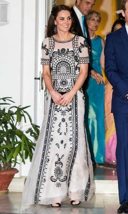 <p>The Duchess wore an Indian-inspired gown by the British designer during her 2016 tour of India with Prince William.<br /><br />Photo: Samir Hussein/Pool/WireImage</p>