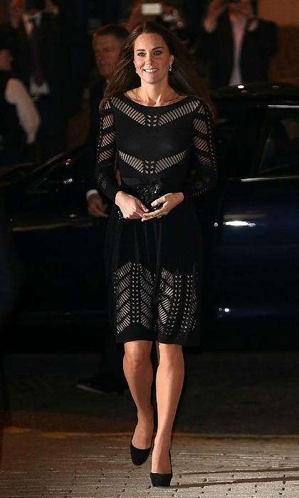 <p>For the 2014 Action on Addiction Autumn Gala Evening at L'Anima, the royal mom wore a daring piece by the British label featuring panels exposing the dress's nude slip beneath.<br /><br />Photo: Danny Martindale/WireImage</p>