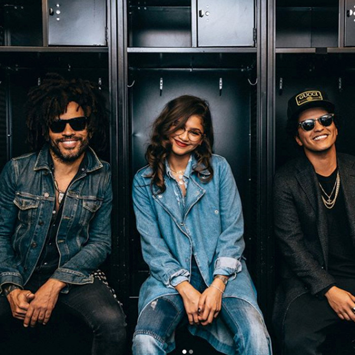 "<p>Lenny Kravitz, Zendaya and Bruno Mars were all smiles backstage at the <em>24k Magic</em> world tour in NYC.<br /><br />The <em>Versace on the Floor</em> took to his Instagram to tease the new musical trio. "" New Band Alert!! Lenny, Zendaya &amp; Bruno. Together we are #LenZuno! ✊️✊️✊️"" <br /><br />Photo: Instagram/@brunomars</p>"