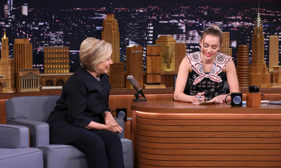 "<p>Miley Cyrus became emotional as she participated in the <em>Tonight Show with Jimmy Fallon</em> Thank You Notes segment dedicated to Hillary Clinton.<br /><br />The <em>Malibu</em> singer read a touching note for her hero who was a guest on the late show. ""Thank you, Hillary for being a constant beacon of strength, hope, and determination for me and millions of other young women,"" she said. ""You've been a role model and an inspiration and the voice of reason in uncertain times.""<br /><br />She then added, ""I could go on and on, but I'd like to get right to the point: Can I give you a hug?"" <br /><br />Photo: Andrew Lipovsky/NBC</p>"