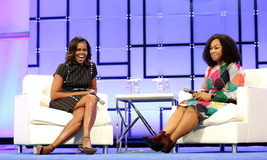 <p>Michelle Obama was all smiles as she chatted with friend Shonda Rhimes during the Pennsylvania Conference for Women on October 3.<br /><br />During the panel, which was held on the former first lady's 25th wedding anniversary, Michelle was surprised by her husband with a loving message.<br /><br />Photo: Ross Kinnaird/Getty Images</p>