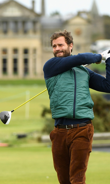 <p>Hole in one! Jamie Dornan got in some practice prior to the 2017 Alfred Dunhill Links Championship at The Old Course on October 4 in St Andrews, Scotland.<br /><br />Photo: Ross Kinnaird/Getty Images</p>