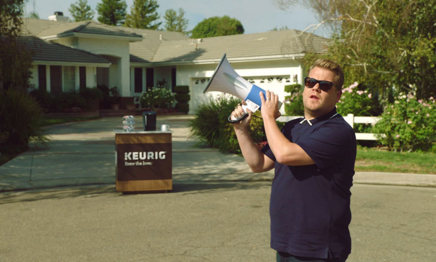 <p>James Corden teamed up with Keurig to collaborate on and star in the brand's latest campaign, Brew the Love. Together, the late night talk show host and Keurig charged their way across America to convert real-life drip coffee drinkers into Keurig coffee lovers.<br /><br />Photo: Keurig</p>