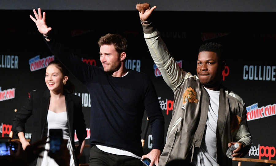 <p>Scott Eastwood (left) and John Boyega (right) waved to fans while on stage at a panel for their upcoming movie <em>Pacific Rim: Uprising</em> during New York Comic Con on October 6.<br /><br />Photo: Dia Dipasupil/Getty Images</p>
