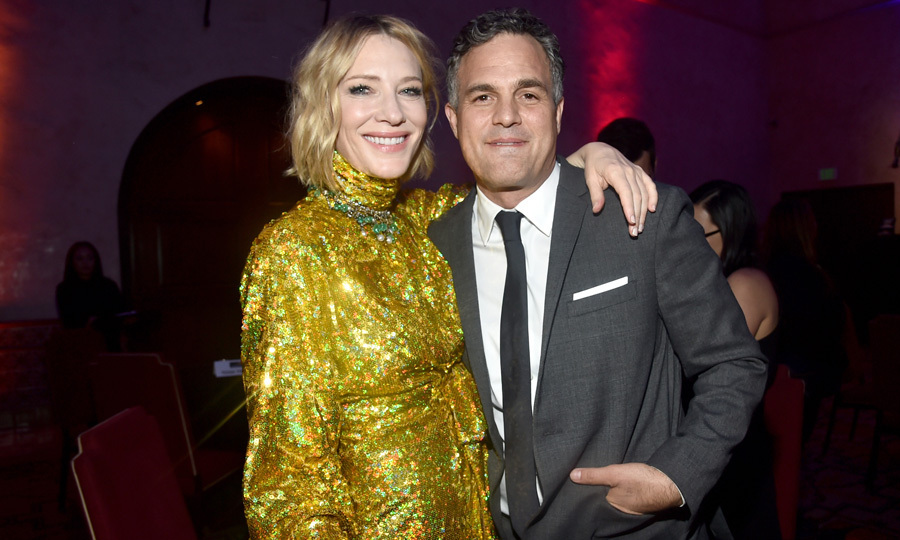 <p>Cate Blanchett and Mark Ruffalo were all smiles at the premiere of Marvel Studios' <em>Thor: Ragnarok</em> in L.A. on October 10. Cate dazzeled wearing a sparkling dress by Gucci for the occasion, while Mark looked sharp in a classic grey suit.<br /><br />Photo: Alberto E. Rodriguez/Getty Images for Disney</p>