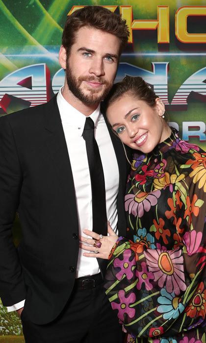 <p>Love at the movies! Miley Cyrus and Liam Hemsworth made a rare public appearance during the premiere of Disney and Marvel's Thor: Ragnarok in L.A. The pair, who reconciled in January 2016, made their first red carpet appearance together since October 2016, to support Liam's older brother Chris Hemsworth.<br /><br />Photo: Todd Williamson/Getty Images</p>