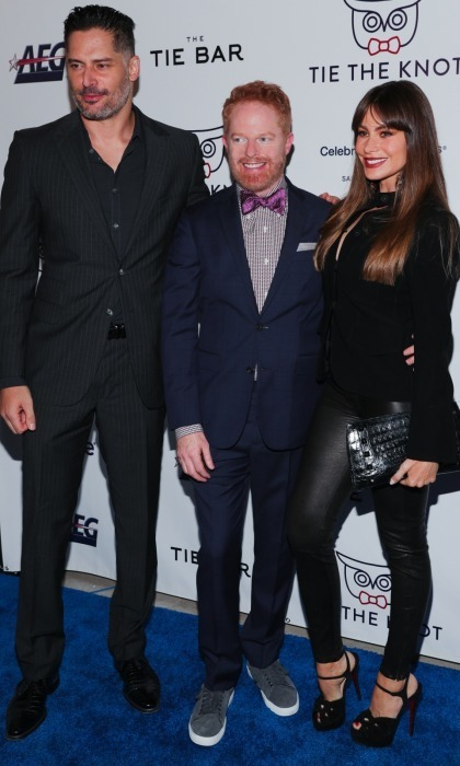 <p>Jesse Tyler Ferguson posed with his <em>Modern Family</em> co-star Sofia Vergara and her husband Joe Manganiello at an event close to his heart! Jesse's non-profit advocacy organization Tie the Knot, founded with his husband Justin Mikita, celebrated its' fifth anniversary at NeueHouse in Hollywood. Their foundation supports LGBTQ equality around the world. They were thrilled to announce at the event that the cause surpassed $1,000,000 in funds raised!<br /><br />Photo: Zack Whitford/BFA for Tie The Knot</p>