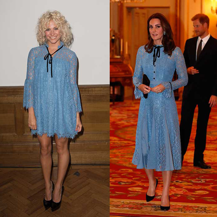The Duchess of Cambridge and British singer Pixie Lott appear to have very similar taste when it comes to fashion! On Oct 10, Kate made her first appearance since the news of her third pregnancy wearing a gorgeous blue lace dress from Temperley. But if you thought that her the design was rather familiar, you would be correct. 