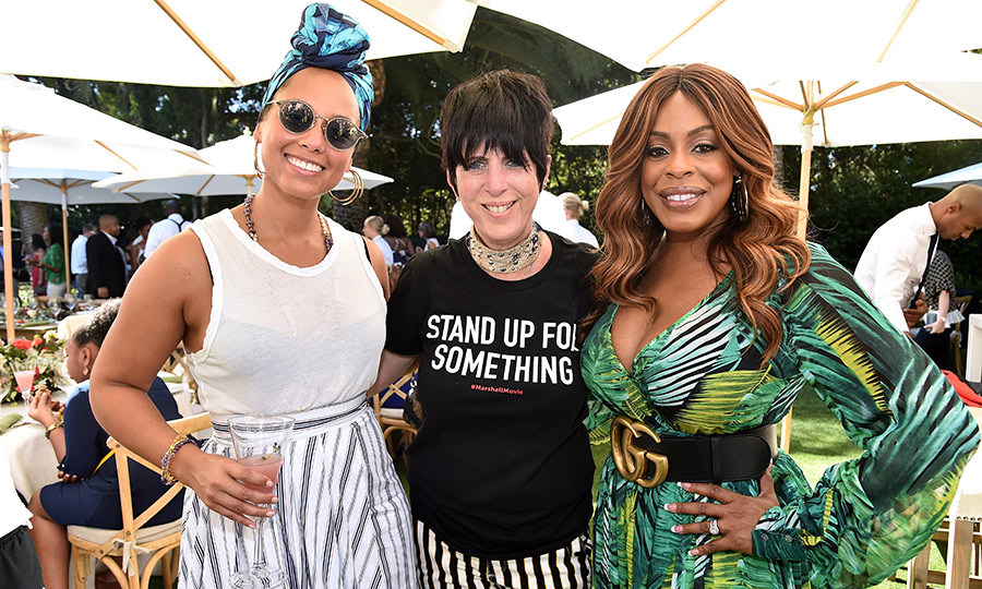 Oprah Winfrey celebrated the launch of her new book <em>Wisdom of Sundays</em> with a party in Montecito, California. Musician Alicia Keys, songwriter Diane Warren and actress Niece Nash posed for a happy photo together at the event on Oct. 15.