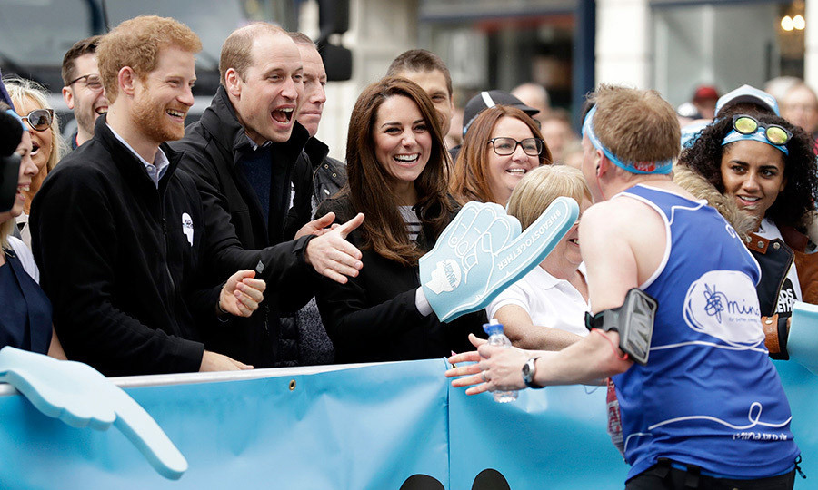 <p>With Duchess Kate in charge of the Heads Together foam finger, the three royals cheered on runners from the sidelines at the London Marathon on April 23, 2017.<br /><br />Photo: Getty Images</p>